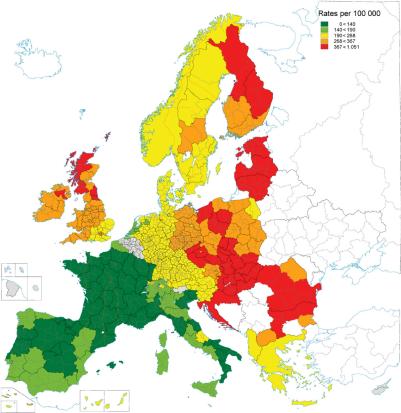 Europe Heart Death Men 2000