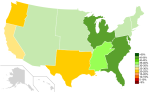 """% """"Very Happy"""" in the U.S. (Whites) by CensusRegion"""
