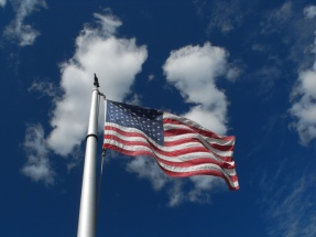 US Flag Blue Sky