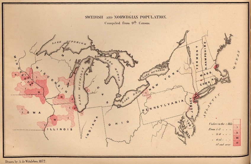Map Of Us In 1870.Map Swedes Norwegians 1870 Us Jayman S Blog
