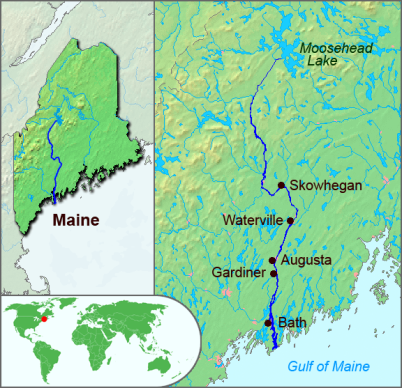 The border between Acadia and New England, as claimed by the French, was the Kennebec River, seen here on a map of modern Maine