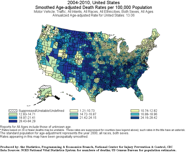 All Race Age-Adjusted traffic death rates county 2004-2010