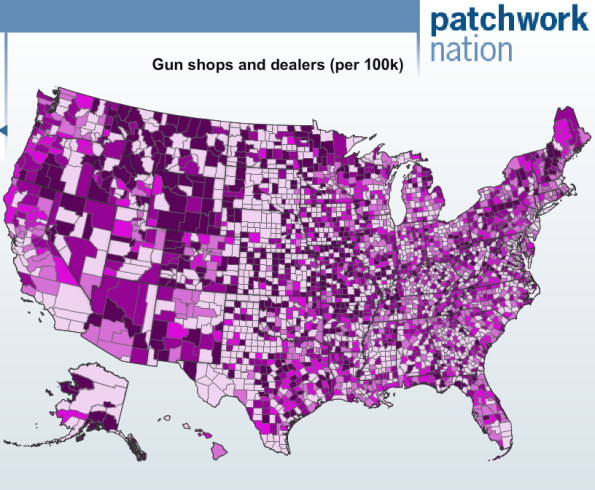 Gun Shops per capita by county US