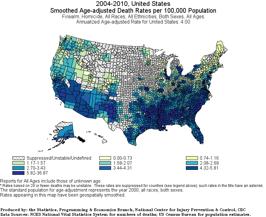 All Race Age-Adjusted firearm homicides rates county 2004-2010-C