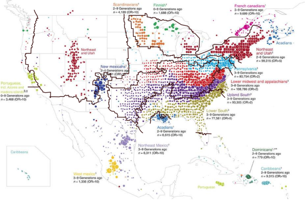 The genetic clustering of the North American population, which reveal the American Nations on the genetic level. From Han et al 2017