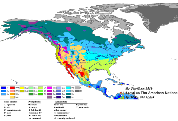 Major climatic zones of North America with the American nations superimposed